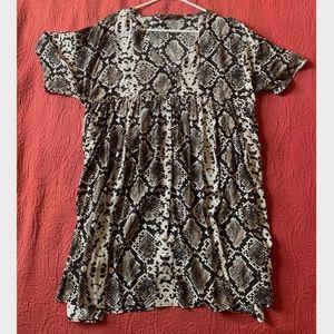 Zara Short Sleeve Snake Print Dress